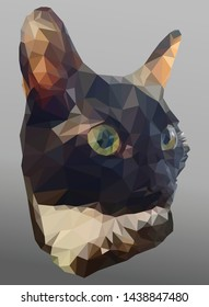Vector banner with cat head on the grey background. Triangulated illustration of the cute pussycat with big ears in realistic style. Portrait of a black and white kitten close-up