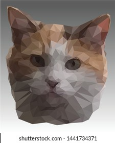 Vector banner with cat head on the grey background. Low poly illustration of the cute pussycat with big ears in realistic style. Portrait of a red and white kitten close-up. Poly art.