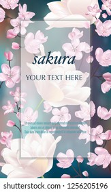 Vector banner with Cherry Blossom and tulips for invitation, sales, packaging, cosmetics, perfume. Space for text.