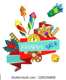 Vector banner for Christmas sale with gifts and firecrackers. Transparent background