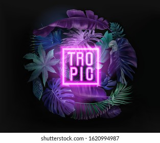 Vector banner with color tropical leaves and neon letters on black background. Botanical design for tropical night party, wedding invitation, cosmetics, spa, beauty salon, travel agency, florist shop