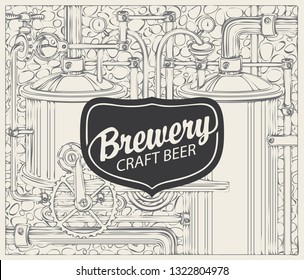 Vector banner for craft beer and brewery, with a calligraphic inscription on the background illustration of the production line of the old brewery in retro style