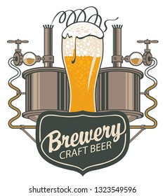 Vector banner for craft beer and brewery, with a calligraphic inscription, an overflowing glass of frothy beer and brewing machine of the old brewery in retro style
