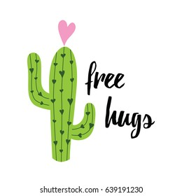 Vector banner. Cute hand drawn cactus print with inspirational quote isolated on white. Mexican symbol.