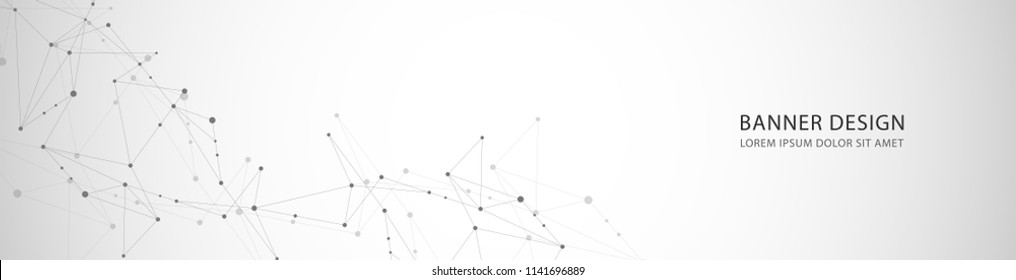 Vector banner design, network connection with lines and dots.