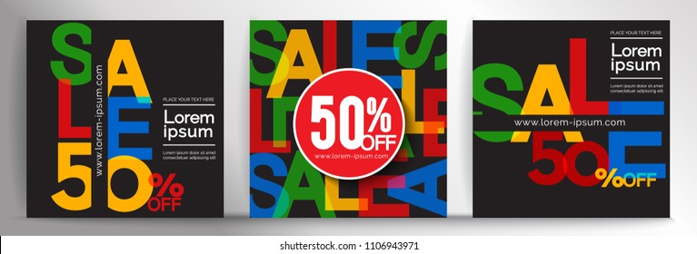 Vector banner design template, element for online banner, invitations, gift cards, flyers brochures, cover page, sale 50% off,Vector EPS10.