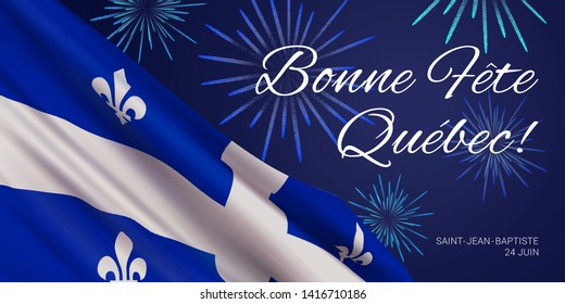 Vector banner design template with flag of Quebec province, fireworks and text on blue background.Translation from french: Happy Quebec Day!Saint Jean Baptist.June 24th.