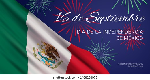 """Vector banner design template with flag of Mexico, fireworks, and text on blue background. Translation: """"September 16. Independence Day of Mexico. Mexican War of Independence, 1810."""""""