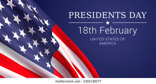 Vector banner design template for Presidents Day with realistic American flag and text on dark blue background.