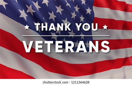 Vector banner design template for Veterans Day with realistic american flag and text: Thank you Veterans.