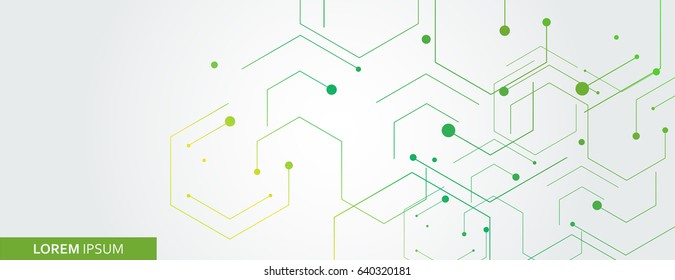 Vector banner design, white background with hexagon pattern.