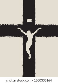 Vector banner for Easter Sunday or Good Friday. Illustration on a religious theme with a crucifixion. Abstract black cross with a crucifix. Jesus Christ, Son of God, Catholic and Christian symbol