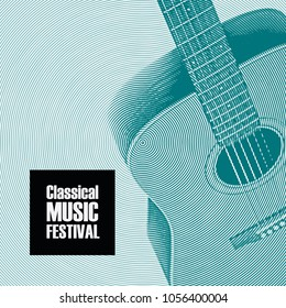 Vector banner for festival of classical music with a guitar in retro style on emerald background