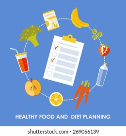 Vector banner in flat style - Healthy food and Diet planning, diet, food