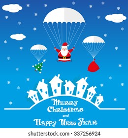 Vector banner funny Santa Claus as skydiver with christmas tree and big gift bag on blue background