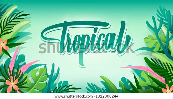 Vector Banner Green Tropical Leaves On Stock Vector Royalty Free 1322308244