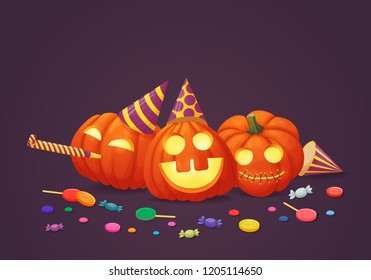 Vector banner, greeting card, sign, poster design.Happy pumpkins with glowing faces in party hats with party blowout and multicolored sweets on a purple background. Harvest, thanksgiving, halloween.