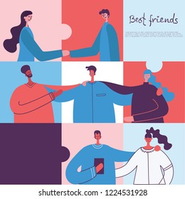 Vector banner with the group of happy fashion people - best friends in a flat style