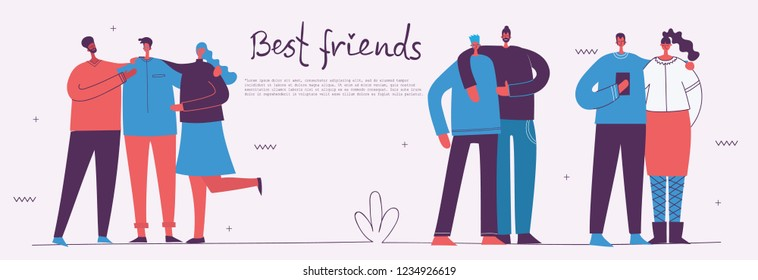 Vector banner with the group of happy fashion people - best friends and your healthy sport lifestyle in a flat style