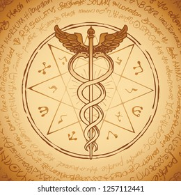 Vector banner with hand-drawn staff of Hermes with an octagonal star. Caduceus with two snakes and wings on the background of an old illegible manuscript written in a circle