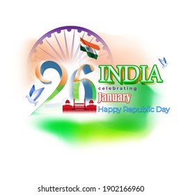 Vector banner of Happy Republic day, 26 january, national holiday of India, abstract India flag, ashoka chakra, template for website and social media. - Shutterstock ID 1902166960