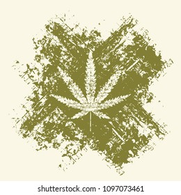 Vector banner with hemp leaf on abstract background in form of cross in grunge style. Natural product made from organic hemp. Smoking weed. Medical cannabis logo
