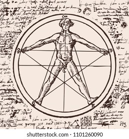 Vector banner with a human figure like Vitruvian man by Leonardo Da Vinci. Hand drawn anatomical illustration in vintage style on the background of an old illegible manuscript