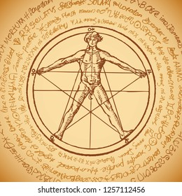 Vector banner with a human figure like Vitruvian man Leonardo da Vinci in a pentagram. Hand-drawn illustration in vintage style on the background of an old illegible manuscript written in a circle.