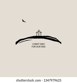 Vector banner or icon on Christian theme with three crosses on the hill, flying eagle and words Christ died for our sins on beige background.