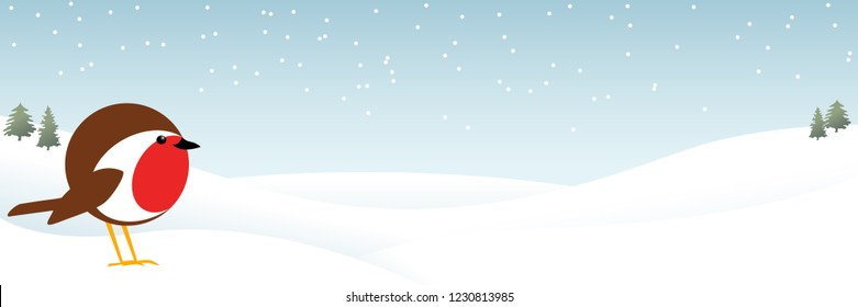 vector banner illustration of a cute male robin redbreast standing in the snow with space for text