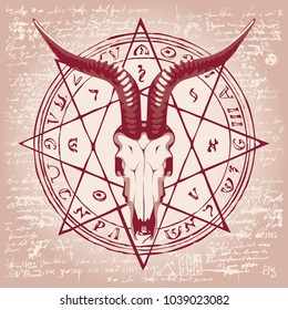 Vector banner with illustration of goat skull and pentagram with magical inscriptions and symbols on the background of old papyrus or manuscript with spots in retro style