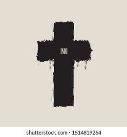 Vector banner or illustration on the religious theme. Abstract black cross with splashes, drips and inscription INRI