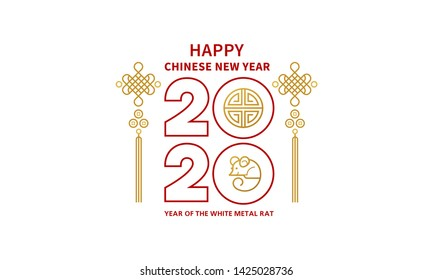 Vector banner with a illustration of the rat zodiac sign, symbol of 2020 on the Chinese calendar. White Metal Rat, chine lucky in New Year. Element for Chinese New Year's design.