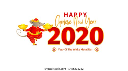 Vector banner with a illustration of Rat zodiac sign, symbol of 2020 on the Chinese calendar. Dancing mouse in traditional Chinese costume, gold ingots. White Metal Rat. Elements for Chinese New Year.