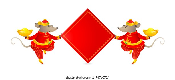 Vector banner with a illustration of Rat zodiac sign, symbol of 2020 on the Chinese calendar. Dancing mouse in traditional Chinese costume, gold ingots, red paper for greeting text. White Metal Rat.