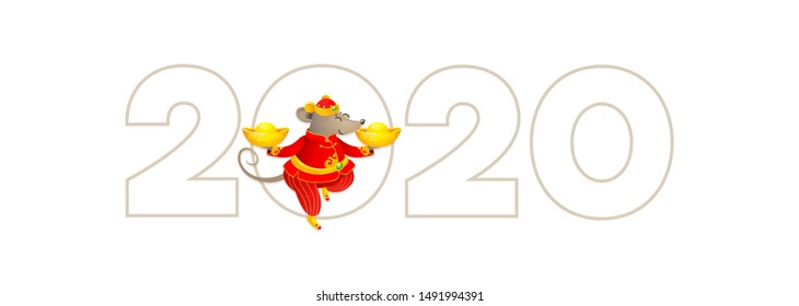 Vector banner with a illustration of Rat zodiac sign, symbol of 2020 on the Chinese calendar. Dancing mouse in traditional Chinese costume, gold ingots.  White Metal Rat. Chinese elements for New Year