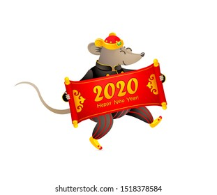 Vector banner with a illustration of Rat zodiac sign, symbol of 2020 on the Chinese calendar. Dancing mouse in traditional Chinese costume, gold ingots, red scroll for greeting text. White Metal Rat.