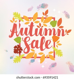 Vector banner with the inscription Autumn sale. Can be used for leaflets, banners or posters. Vector illustration with colorful autumn leaves and feathers