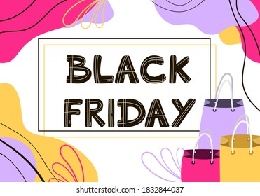 Vector banner with the inscription black Friday in doodle style. Black Friday text on a white background, abstract background, and shopping bags. For window dressing, shops, posters