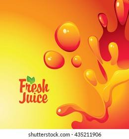 vector banner with the inscription fresh juices and drops and splashes