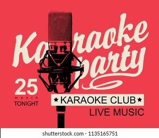 vector banner for inscription karaoke party and microphone