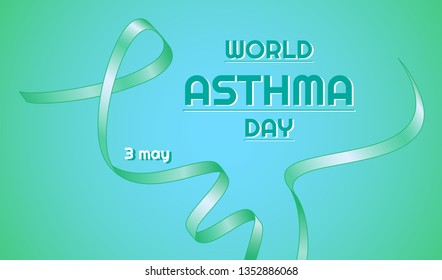 Vector banner for International Asthma Day. Gradient white-green ribbon. Horizontal blue-green gradient background