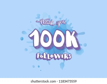 Vector banner for internet networks. 100k followers thank you social media template. 100000 subscriberr post.