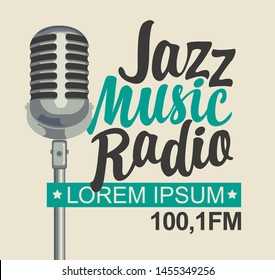 Vector banner for jazz music radio with microphone and inscription in retro style. Radio broadcasting concept with classic dynamic silver mic. Suitable for banner, ad, poster, flyer, logo
