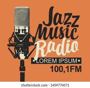 Vector banner for jazz music radio with microphone and inscription in retro style. Radio broadcasting concept with professional studio mic. Suitable for banner, ad, poster, flyer, logo