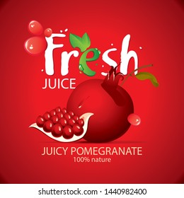 Vector banner or label for fresh pomegranate juice with garnet seeds and fruit, drops of juice and large lettering Fresh on the red background
