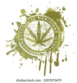 Vector banner for legalize marijuana with hemp leaf on abstract background in form of spots and splashes in grunge style. Natural product made from organic hemp. Smoking weed. Medical cannabis logo