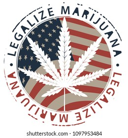 Vector banner for legalize marijuana with hemp leaf on the background of american flag. Natural product made from organic hemp. Smoking weed. Medical cannabis logo