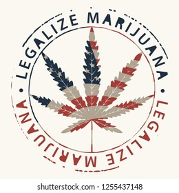 Vector banner for legalize marijuana with hemp leaf in colors of american flag in retro style. Natural product made from organic hemp. Smoking weed. Medical cannabis logo