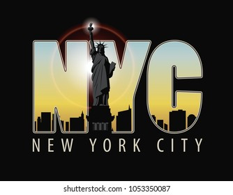 Vector banner with letters NYC with the landscape of New York City and Statue of Liberty on dark background